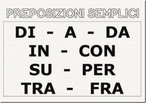 Italian prepositions list
