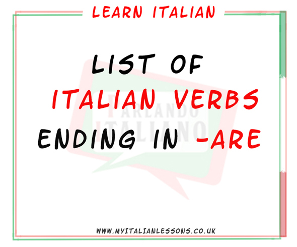 italian verbs ending in are